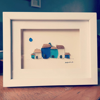 Quirky Cottages - Sea Glass & Pebble Picture - Framed Unique Handmade Art