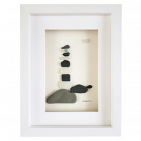 Black & White Lighthouse - Sea Glass And Pebble Picture - Framed Handmade Art