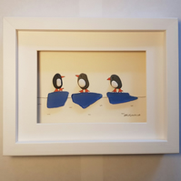 Penguins - Sea Glass & Pebble Picture - Framed Unique Handmade Art
