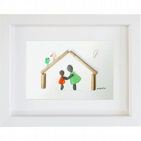Mother and Daughter - Sea Glass & Pebble Picture - Framed Unique Handmade Art