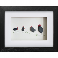 Black Chickens - Pebble Picture - Framed Unique Handmade Art