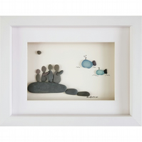 Whale Watching - Sea Glass And Pebble Picture - Framed Handmade Art