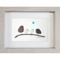 Birds on Branch - Pebble Picture - Framed Unique Handmade Art