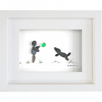 Owner and Leaping Dog - Pebble Picture - Framed Unique Handmade Art