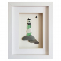 Green Lighthouse - Sea Glass And Pebble Picture - Framed Unique Handmade Art