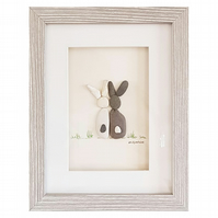Black & White Bunnies - Pebble Picture - Framed Unique Handmade Art