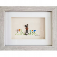 Flower Bunny - Pebble Picture - Framed Unique Handmade Art