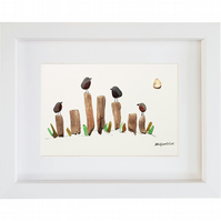 Beach Birds - Pebble Picture - Framed Unique Handmade Art