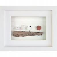 Red & White Birds - Pebble Picture - Framed Unique Handmade Art