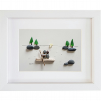 Boating - Sea Glass and Pebble Picture - Framed Unique Handmade Art