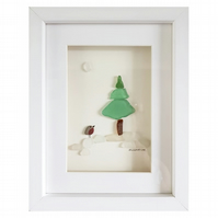 Christmas Tree - Pebble Picture - Framed Unique Handmade Art