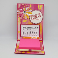 Beautiful 2021 Pink desktop calendar, with notepad & pencil. stocking filler.