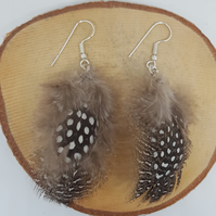 Art Deco handmade taupe feather earring with Christmas gift box