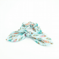 Hair Scrunchie with Bow Blue with Feathers