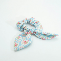 Hair Scrunchie with Bow Blue with Pink Roses