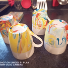 Set of 4 marble painted coffee mugs