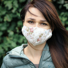 Double layered cotton face mask one size (woman or teenager) in shabby chic styl