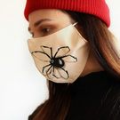 Cotton face mask with hand painted 3D spider Spooky face covering Horror creepy