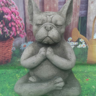 "Hand poured stone ""Yoga French Bulldog"""