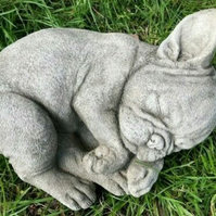 "Hand Poured stone ""Sleeping French Bulldog"""