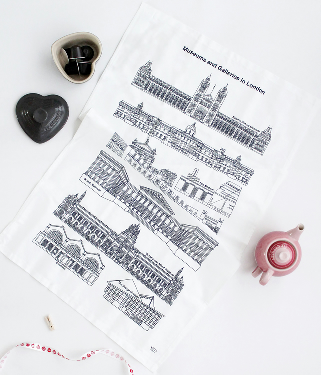 Screen Printed Beautiful Tea Towel, Museums and Galleries in London