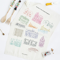100% Natural Cotton Tea Towel, Houses in the UK