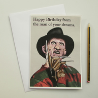 Recycled Hand Made Card Freddy Kreuger Inspired Birthday Card