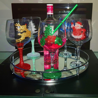 Christmas wine gin custom made glass gift wrapped