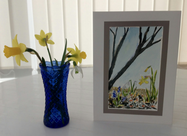Card Spring, three snowdrops