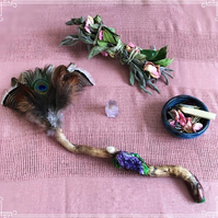 Handmade Ceremony Smudge fan- with Amethyst