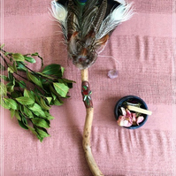 Handmade Ceremony Smudge fan- with Red Jasper, Green Tourmaline and Tiger Iron