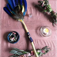 Handmade Ceremony Smudge fan- with Bismuth