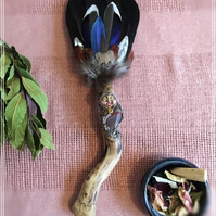 Handmade Ceremony Smudge fan with Shiva Lingham