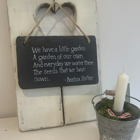 hanging slate hand painted quote