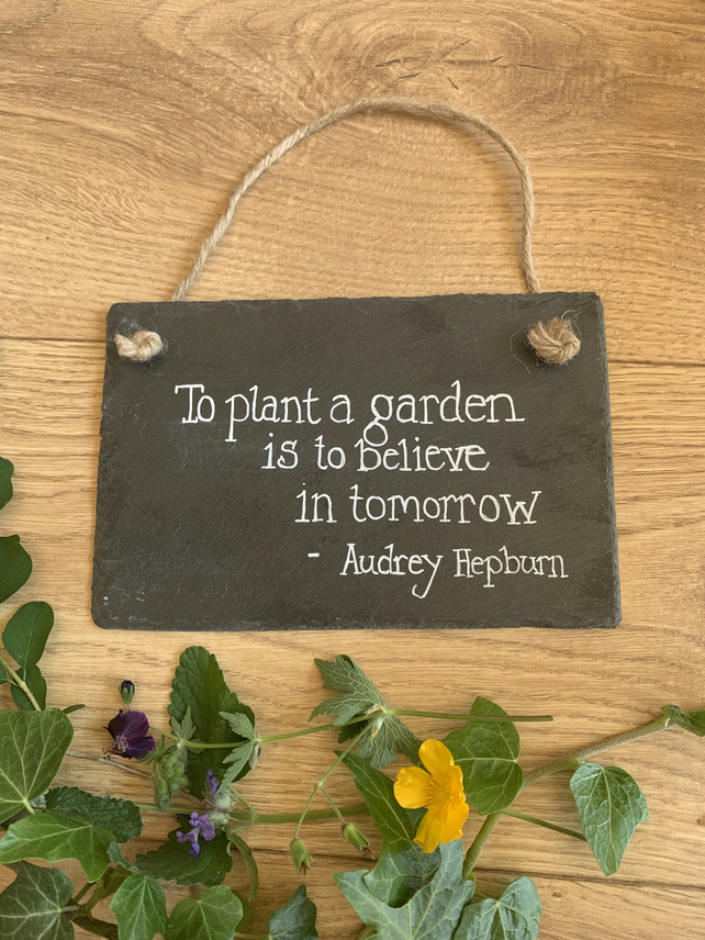 Hand painted slate quote