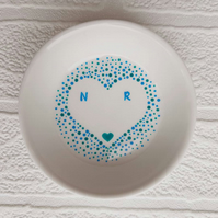 Trinket dish - heart with small initials