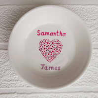 Trinket dish  - small heart with two names