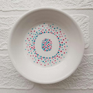 Hand painted personalised initial dot art trinket dish