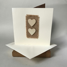 Double rustic heart card