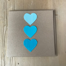 3 tone heart cards - in blue