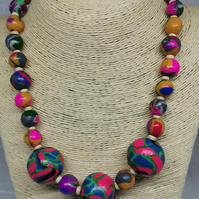 Colourful, handmade Boho necklace. Handmade  beads. Singular item