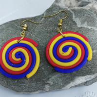Colourful, funky, round, spiral drop earrings. Handmade, polymer clay