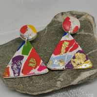 Modern, triangle, Terrazzo earrings. Multi colours on white glitter background.
