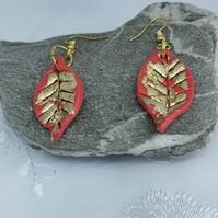 Statement autumn  leaf earrings with gold leaf embellishment. Handmade.