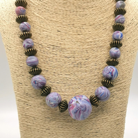 Handmade, Marbled, Beaded Necklace in Soft Blues, Pinks, Violets.