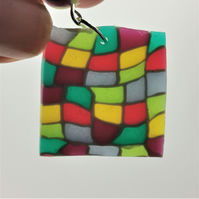Stained glass effect, handmade, polymer clay, drop, statement earrings