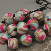Bold, colourful beaded necklace, adjustable lemgth