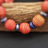 Orange and blue chunky, bead necklace