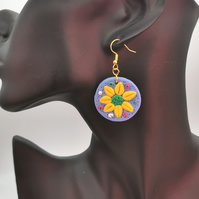 Handcrafted, polymer clay, yellow flower disc earrings.