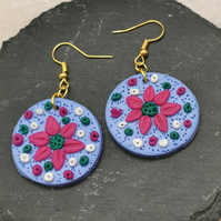 Cute, pink flower, textured, disc earrings. Handmade, polymer clay.